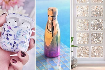 floral airpods case, shiny water bottle, decorative window film