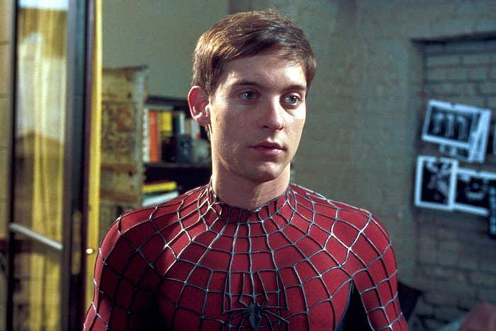 "Tobey Maguire as Spider-Man in 2002 ""Spider-Man"""
