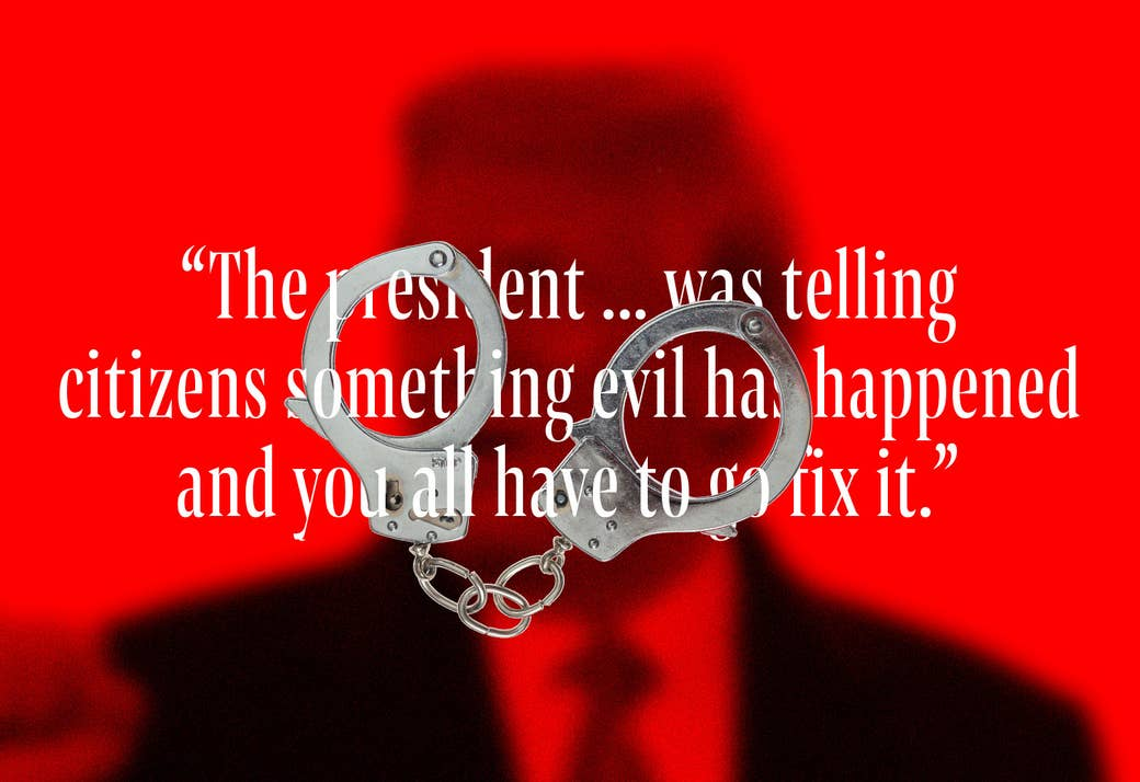 """Text that reads """"The president ... was telling citizens something evil has happened and you all have to go fix it"""" intertwined with handcuffs"""