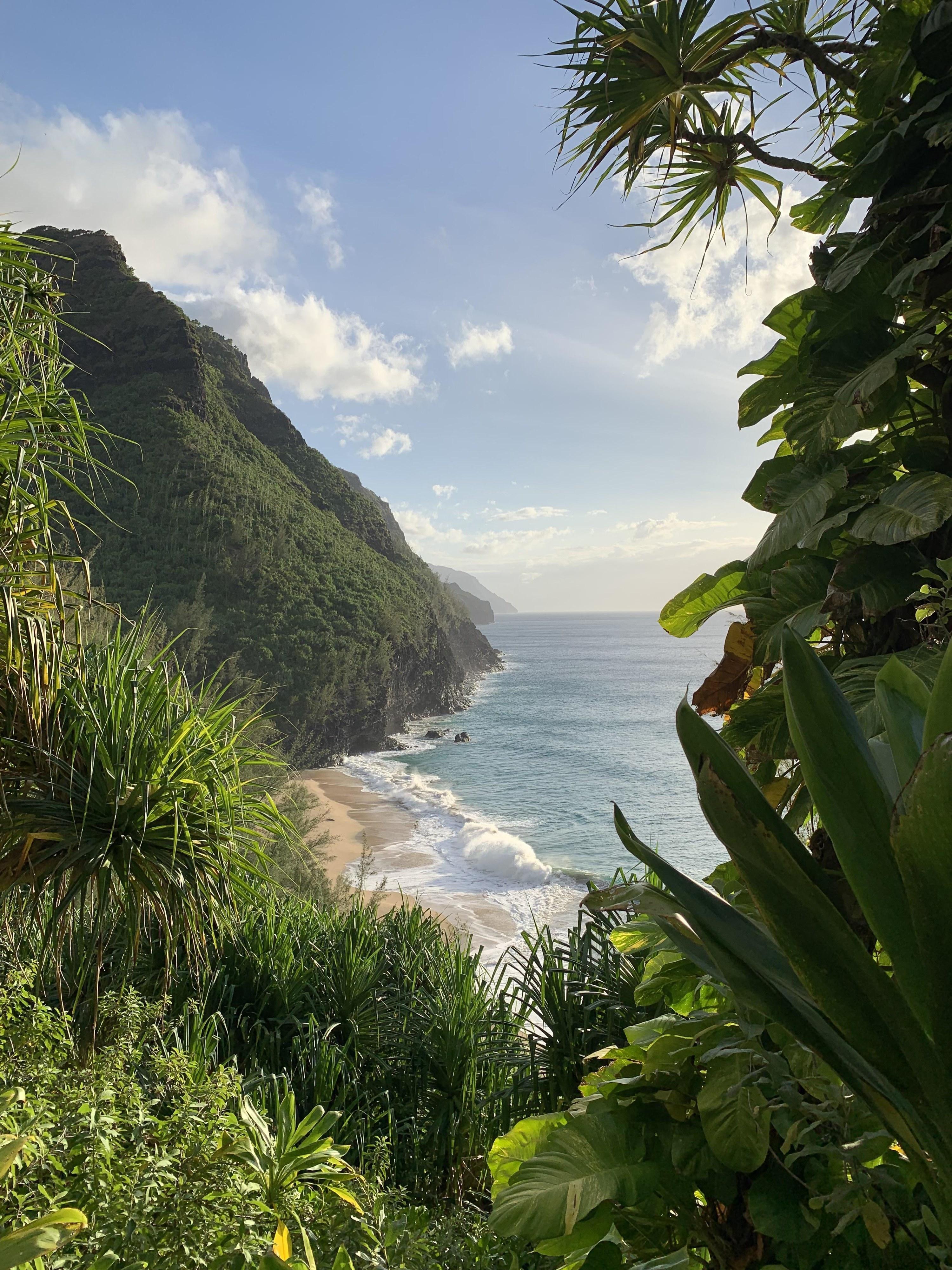 A hike with ocean views in Kauai