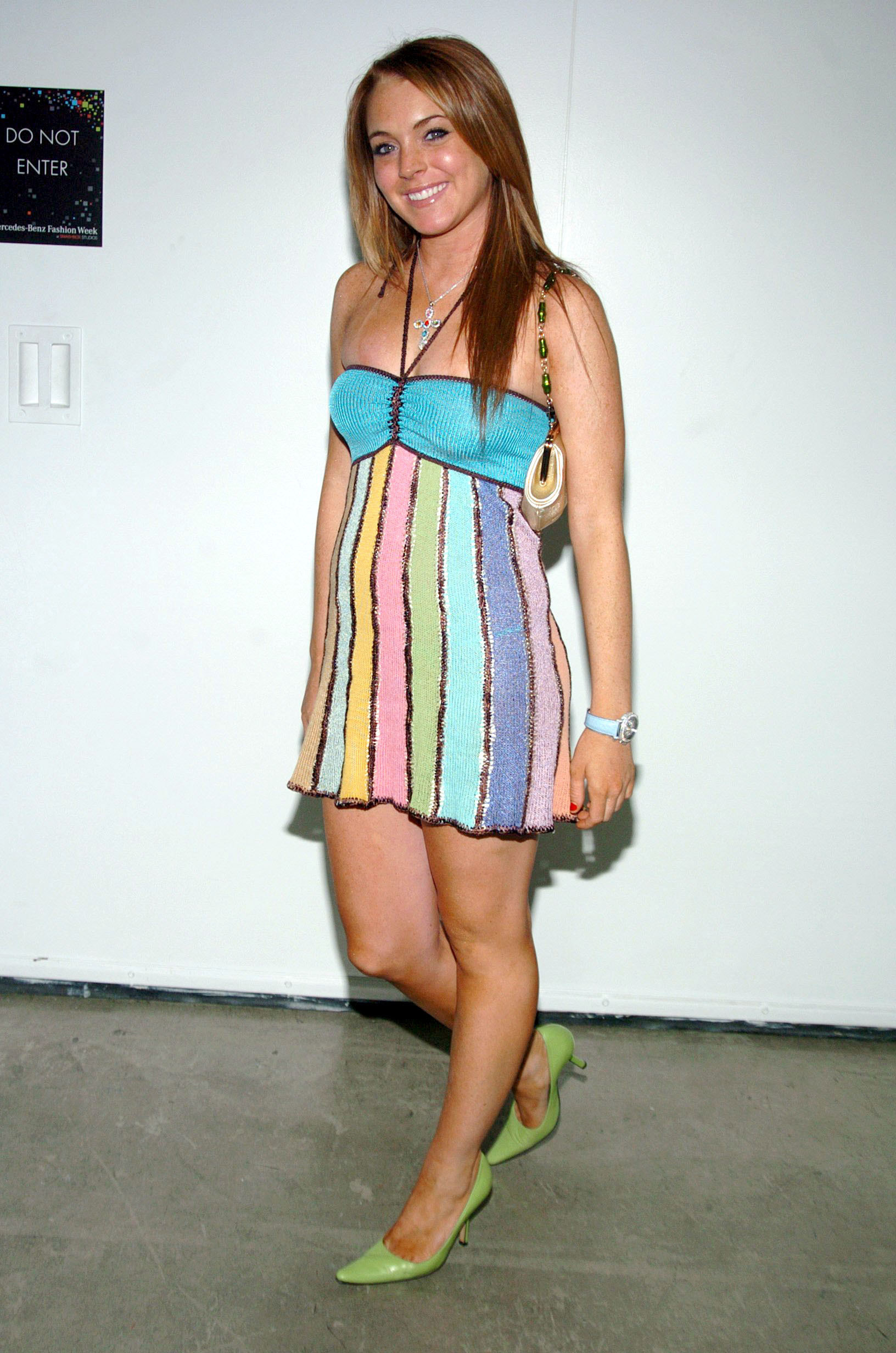 Lindsay in a stripped crotchet dress that resembles candy