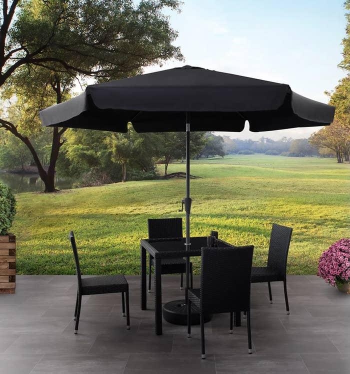 the umbrella in a table