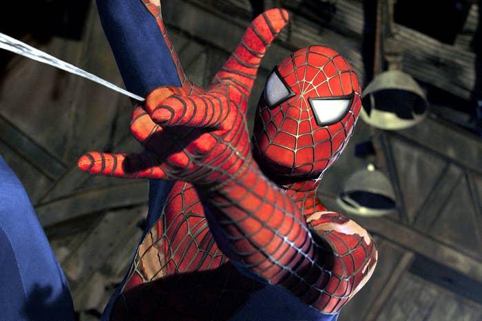 "Spider-Man shooting webs in ""Spider-Man 2"""