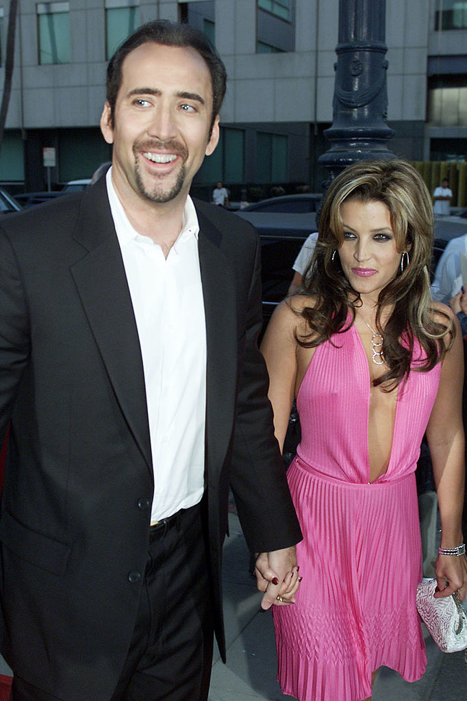 Nicolas Cage and Lisa Marie Presley on a red carpet