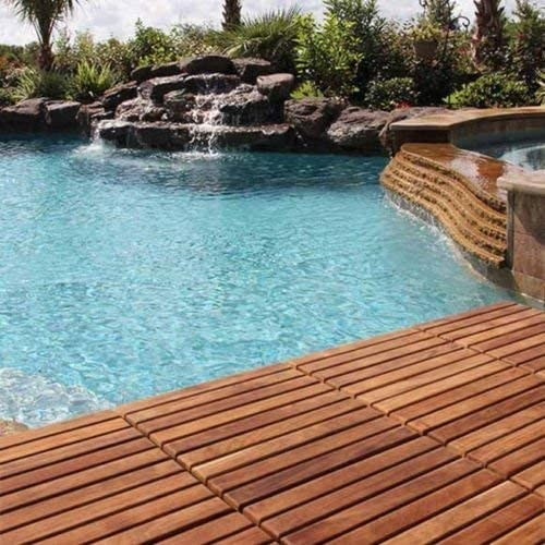 a pool surrounded by the tiles