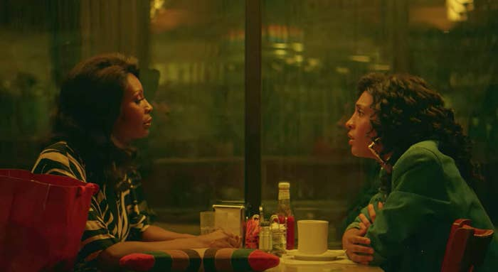 Mj Rodriguez and Dominique Jackson as Blanca Evangelista and Elektra Abundance talking at a diner