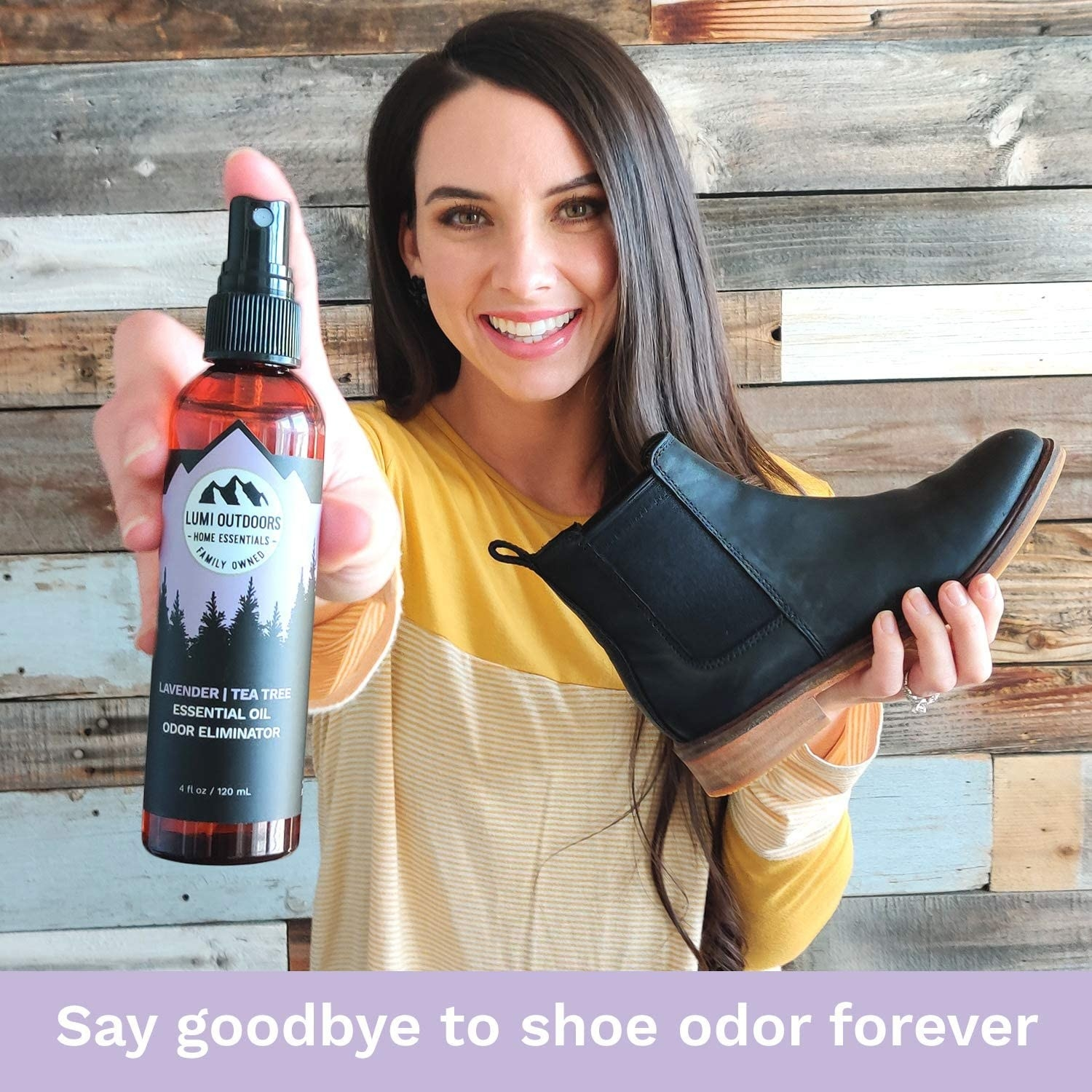 """Model holding a shoe and the spray bottle with text on the image that says, """"say goodbye to shoe odor forever"""""""