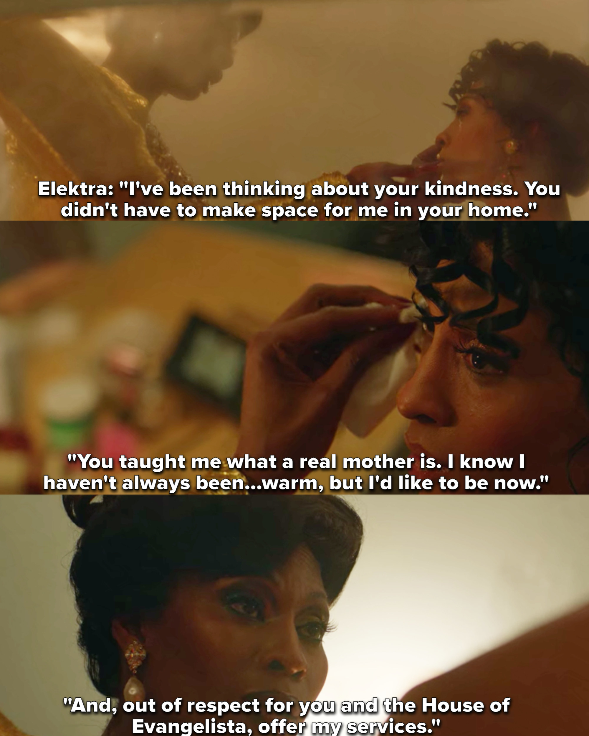 """Mj Rodriguez and Dominique Jackson as Blanca Evangelista and Elektra Abundance in the show """"Pose"""""""