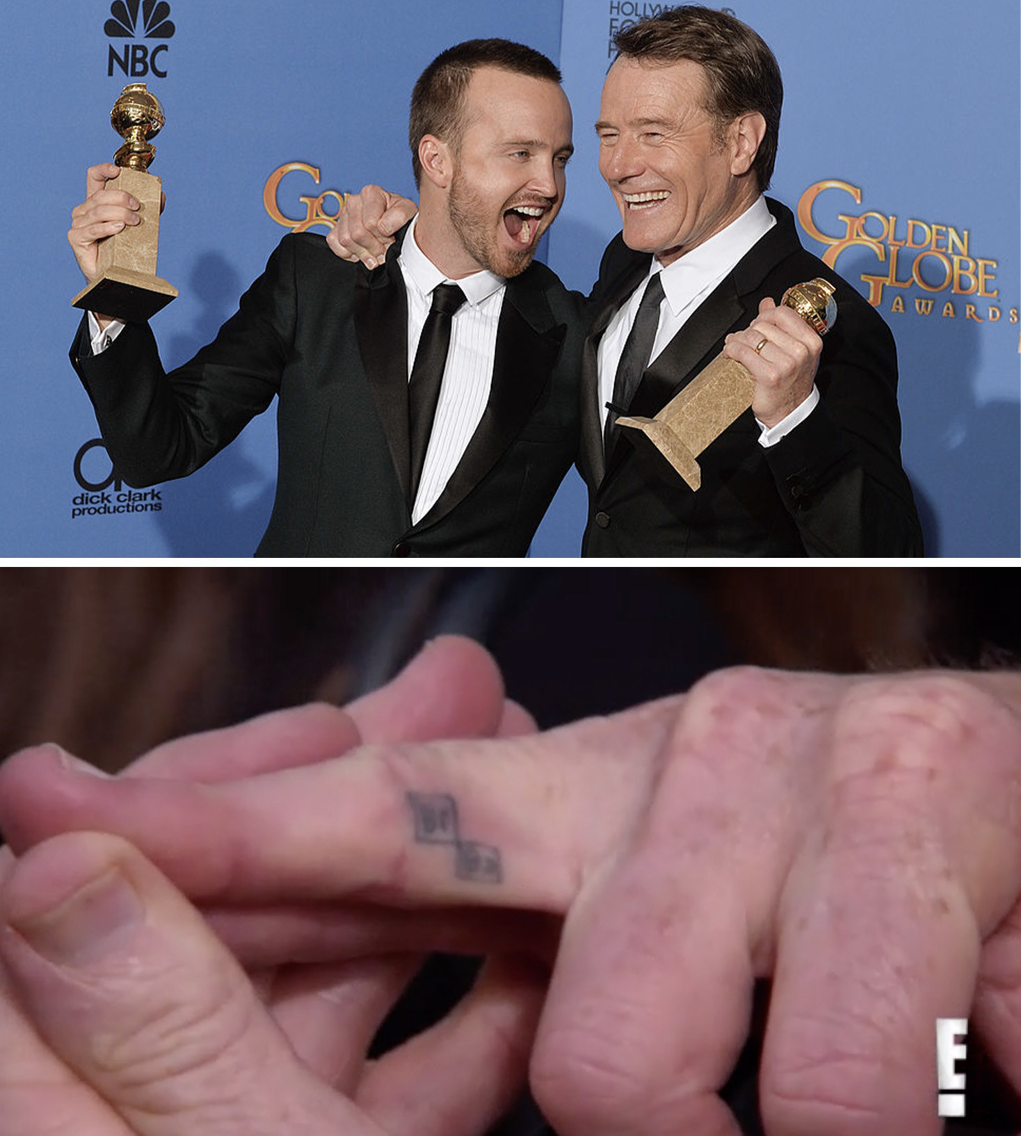 Aaron and Bryan celebrating with their Golden Globes and a close-up of Bryan's Breaking Bad logo tattoo