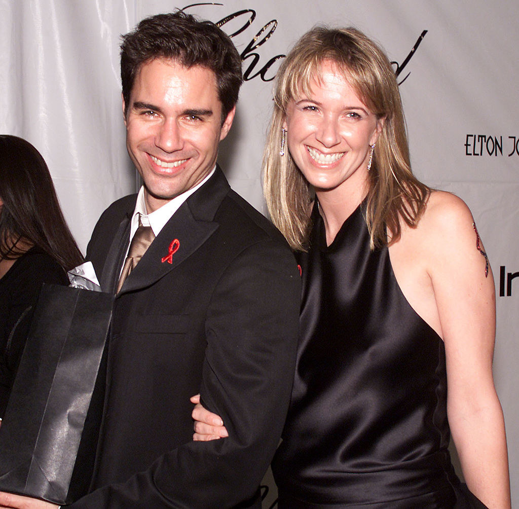 Eric McCormick and Janet Leigh Holden at Elton John's party in 2001