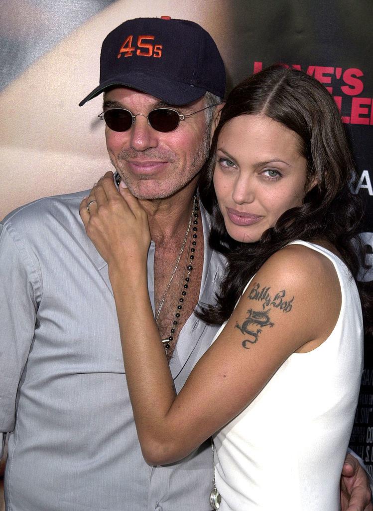 Billy Bob Thornton and Angelina Jolie cuddling