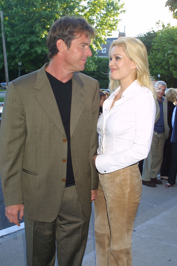 Dennis Quaid and Shanna Moakler looking into each other's eyes