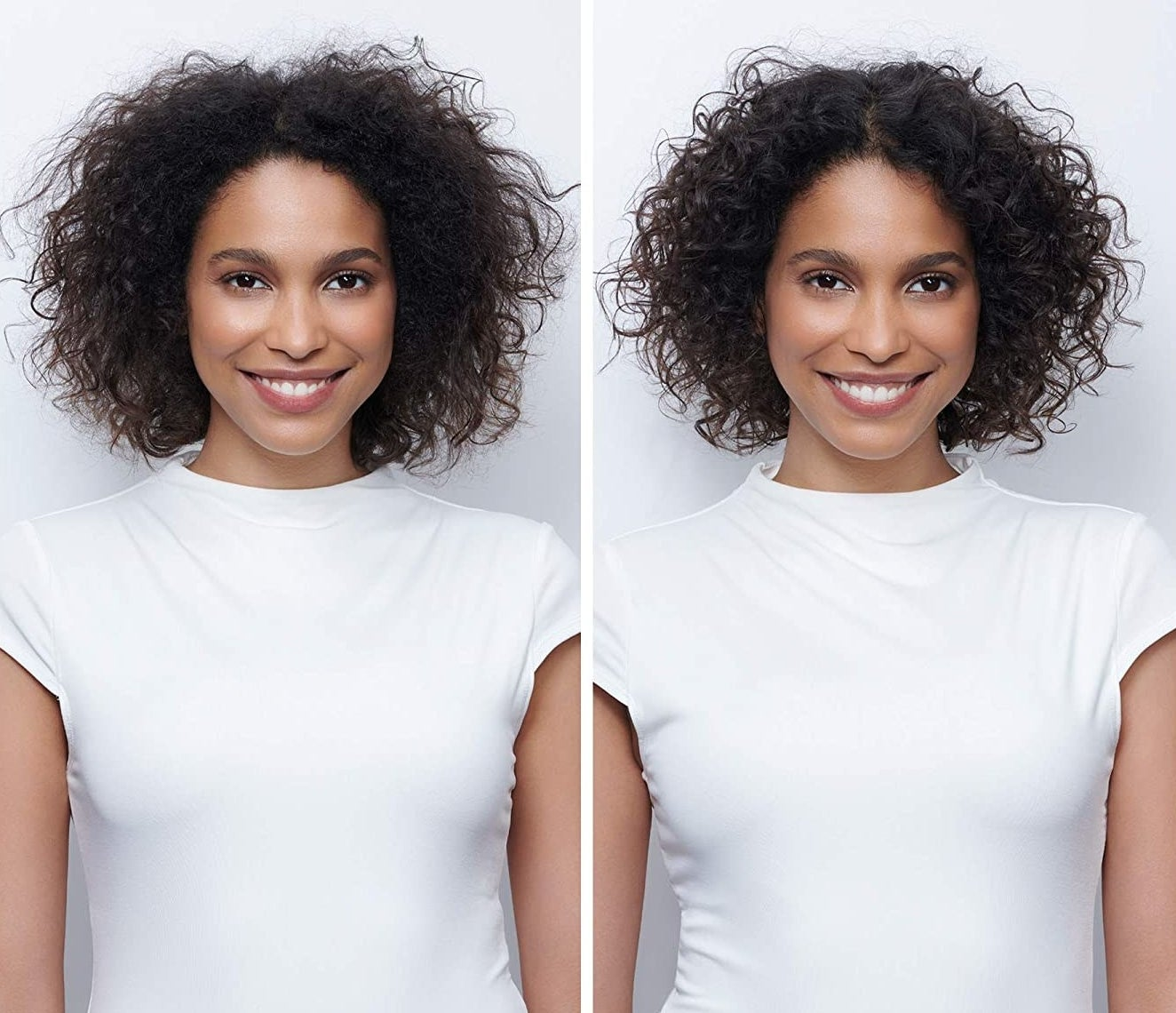 A model before and after using the product, with their curls looking more styled and defined