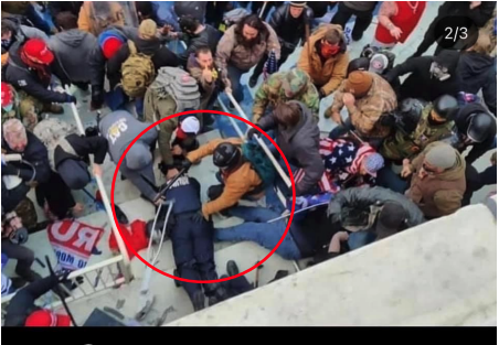 In this aerial view of a mob, a circle is drawn around someone in a crowd standing over an officer lying prone on the ground