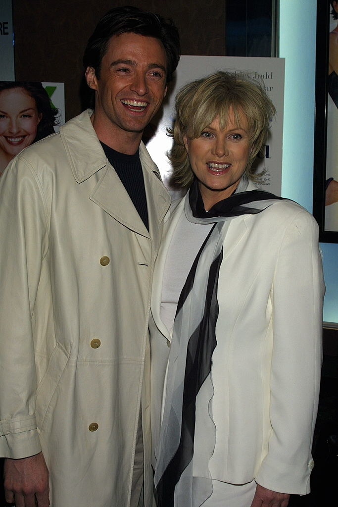 Hugh Jackman and Deborra-Lee Furness wearing all white