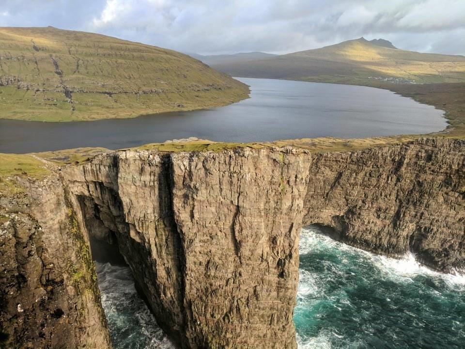 Cliffs and water at Sørvágsvatn, Faroe Islands