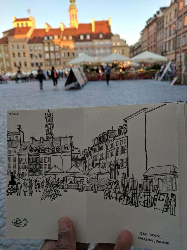 A drawing of  Warsaw Old Town