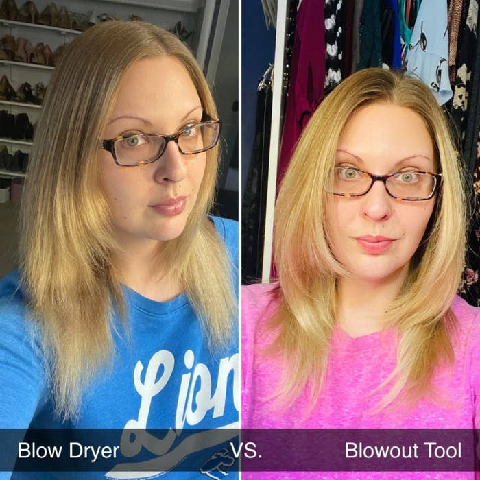 A reviewer using a blow dryer vs using this product, showing how with this product their hair is way less frizzy