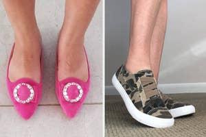 (left) Pink rhinestone flats (right) Camo slip-on sneakers
