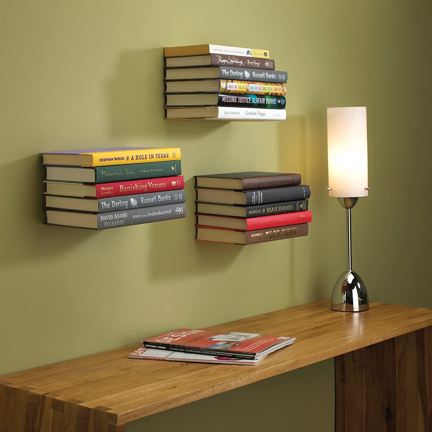 Three of the shelves on a wall
