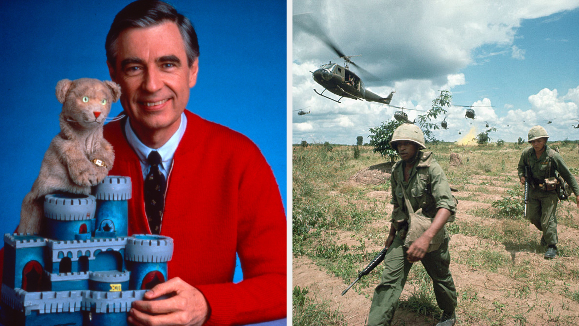 """Mister Rogers posing with a puppet and castle for his show """"Mister Rogers' Neighborhood""""; still of soldiers fighting in the Vietnam War"""