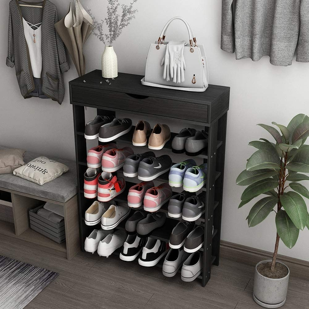 The rack filled with shoes