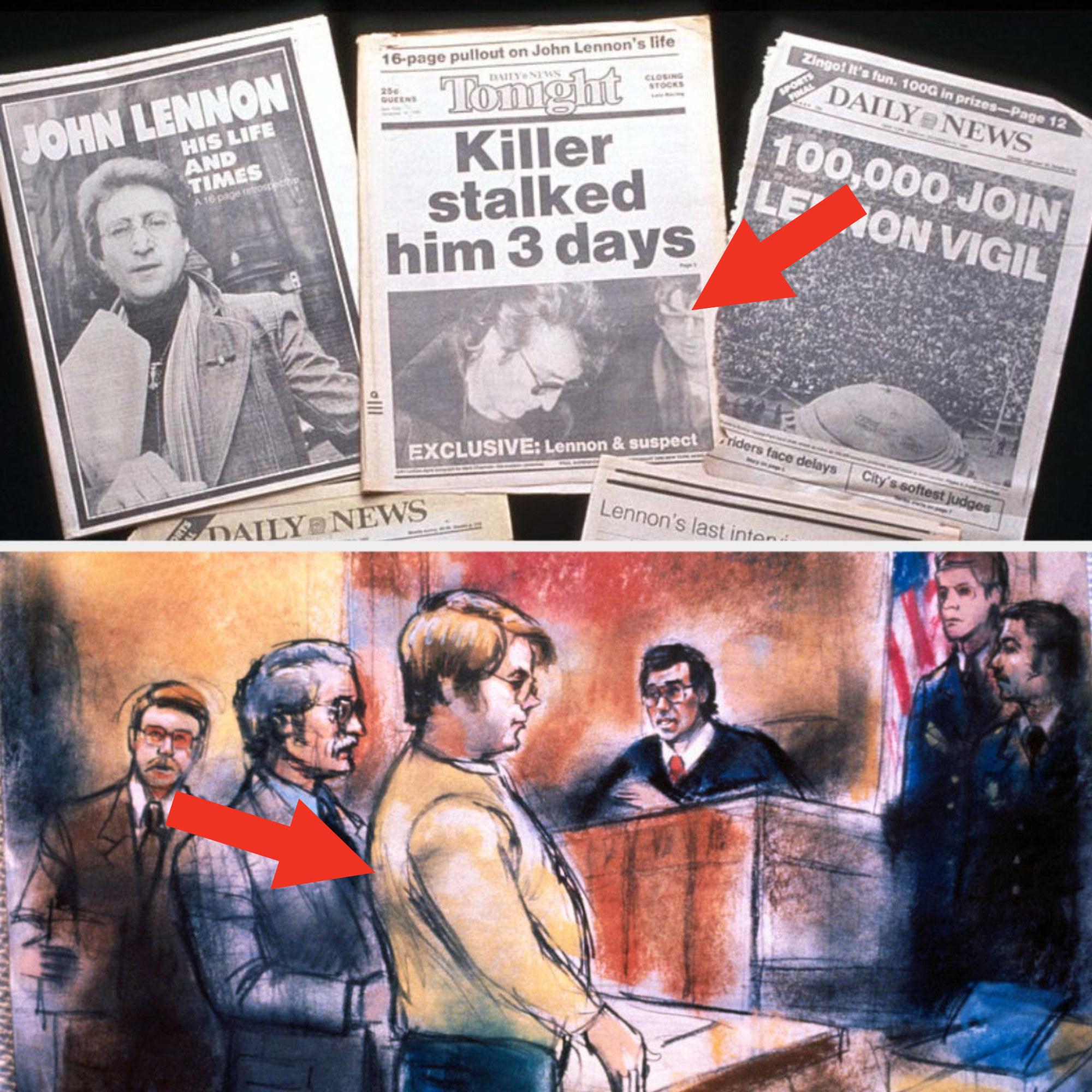 Various newspaper covers of John Lennon's death; courtroom sketch of Lennon's murderer Mark David Chapman