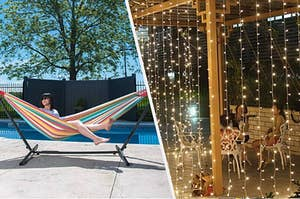 person sitting in hammock and fairy lights on a pergola