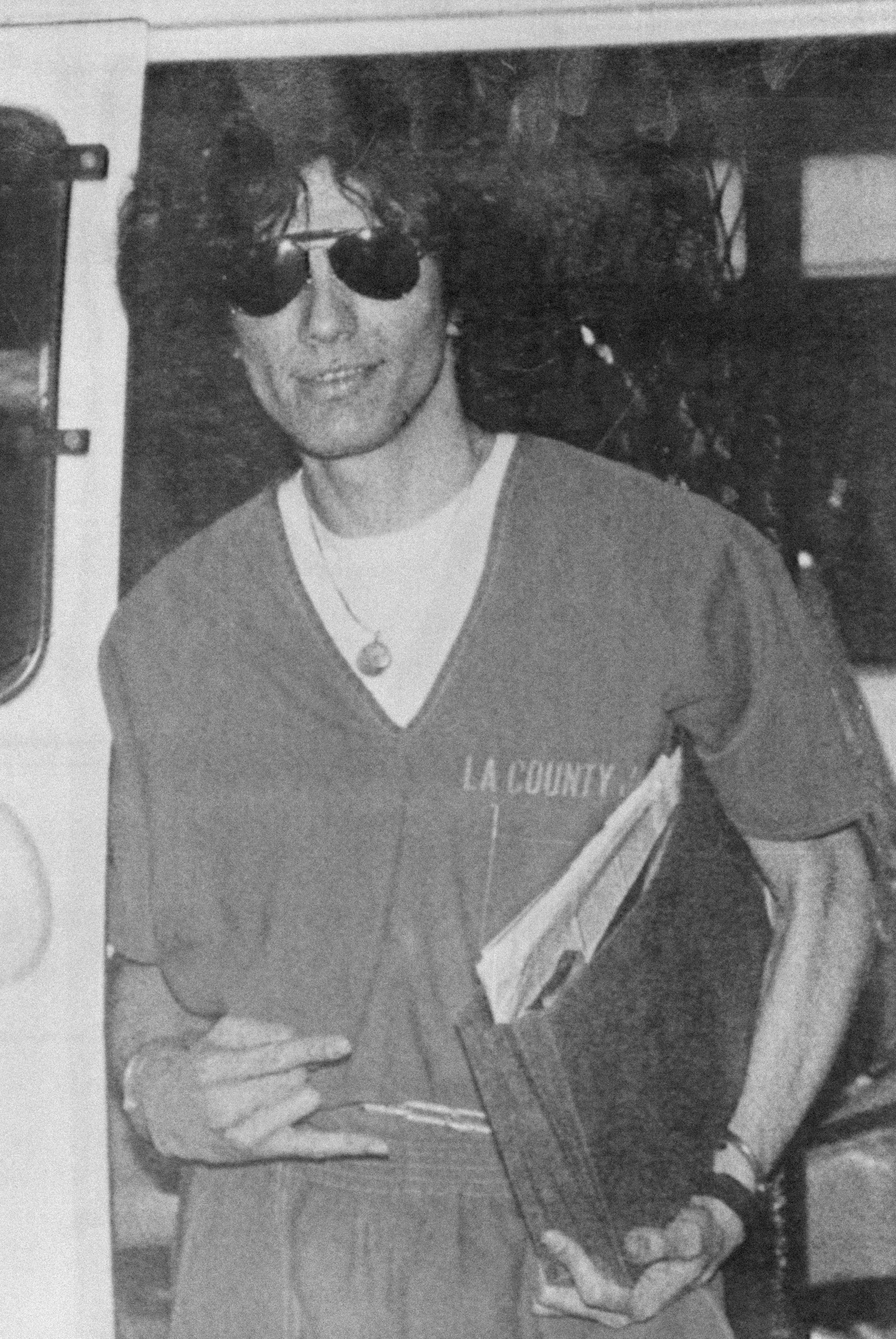 Black-and-white photo of Richard Ramirez in LA County jail