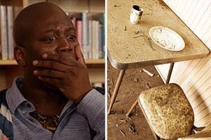 """Titus Burgess看起来恐惧,而且是一个令人作呕的餐厅""""class="""