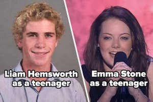 Liam Hemsworth and Emma Stone as teenagers