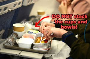 DO NOT stack the cups and bowls from airplane food