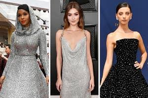 Three different glittering dresses