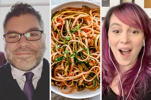 On the left, Patrick Hinds, in the middle, some pasta with marinara sauce, and on the right, Gillian Pensavalle