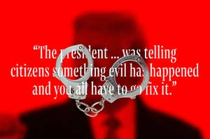 "Text that reads ""The president ... was telling citizens something evil has happened and you all have to go fix it"" intertwined with handcuffs"