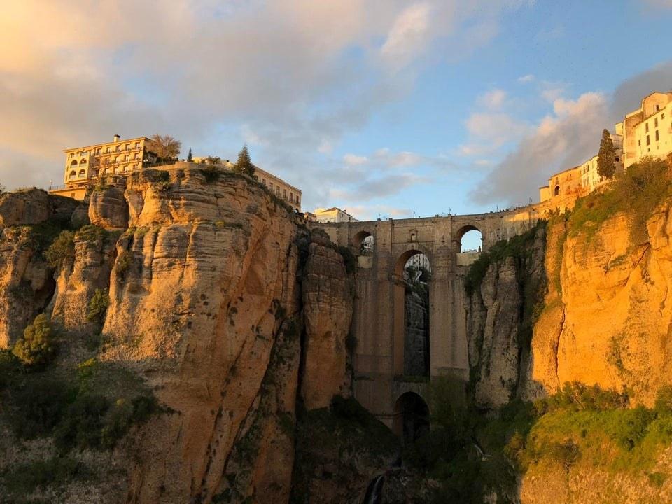 Sunset over Puente Nuevo in Ronda, Spain