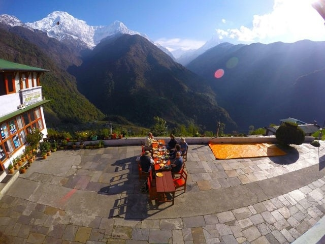 A breakfast setup in Annapurna Range, Nepal