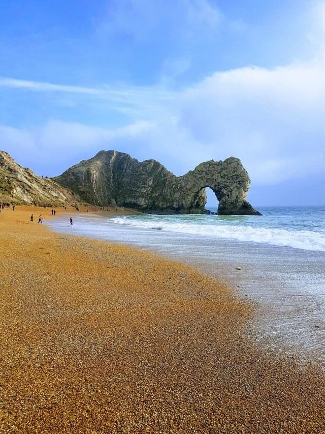 A beach scene in Durdle Door, Dorset