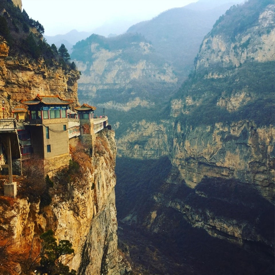 Temples built into the cliffs of Mianshan in Shanxi, China