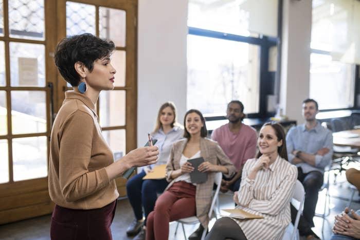 Woman teaching a college class