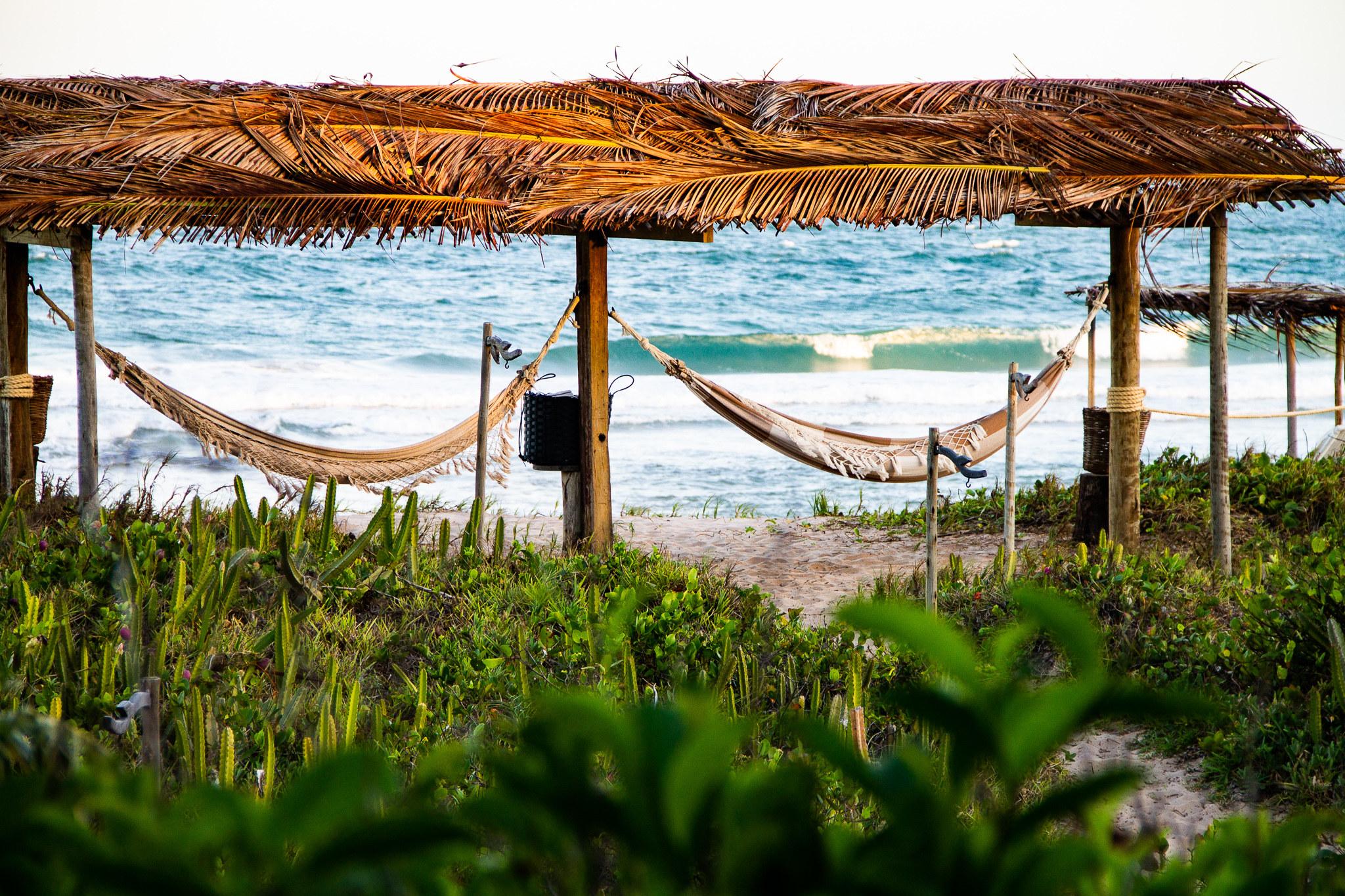Two hammocks hanging on the beach