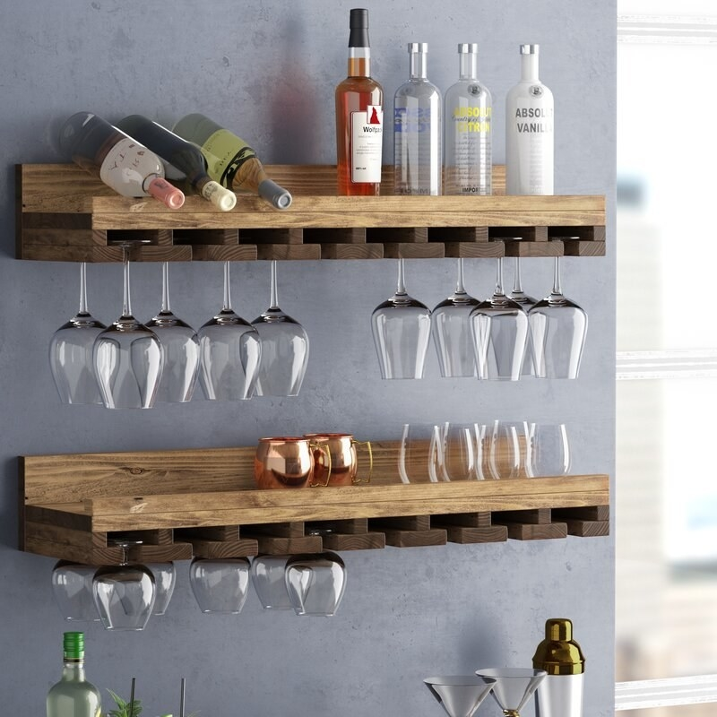 Two wine rack with with hanging wine cups and shelf for wine