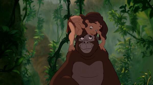 Tarzan on a gorilla's head