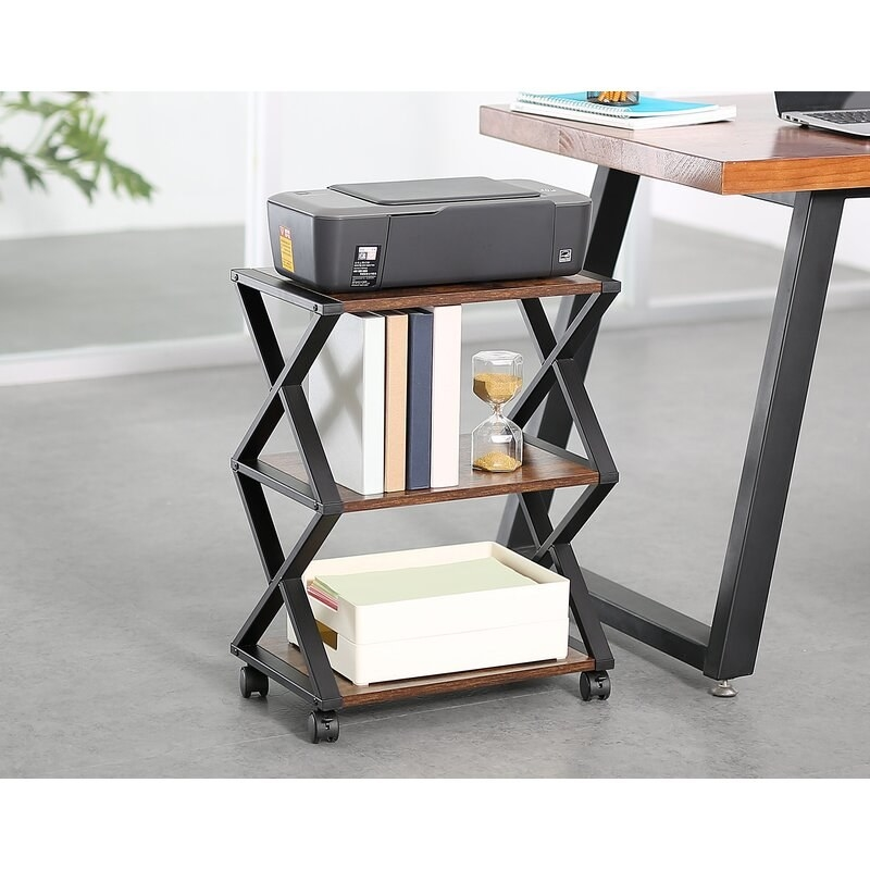 Rolling wooden brown shelves with black frame with triangular pattern