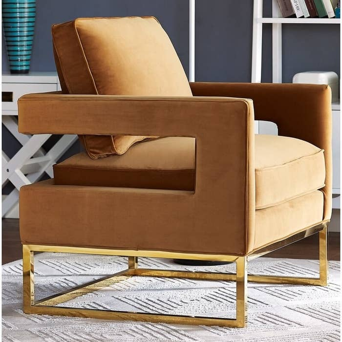 Geometric mustard yellow armchair with rectangular shaped legs