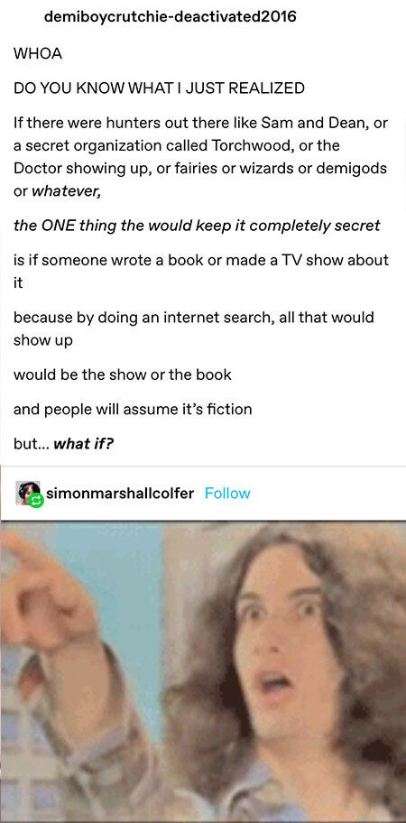 someone pointing out that a way to guarantee keeping magic things like doctors or wizards a secret would be to write stories about them so in google searches just the stories would pop up