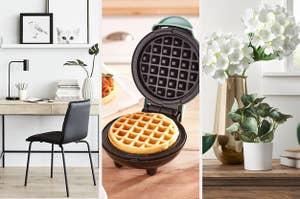A writing desk on the right and a mini waffle maker in the middle and a faux eucalyptus plant on the left