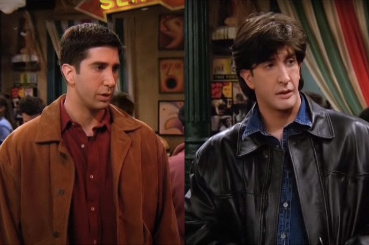 As Russ, he wore a leather jacket and an awful wig
