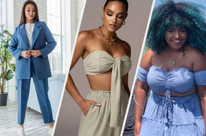 a model in a blue suit; a model in a linen crop top and pants; a reviewer in a light blue crop top and skirt