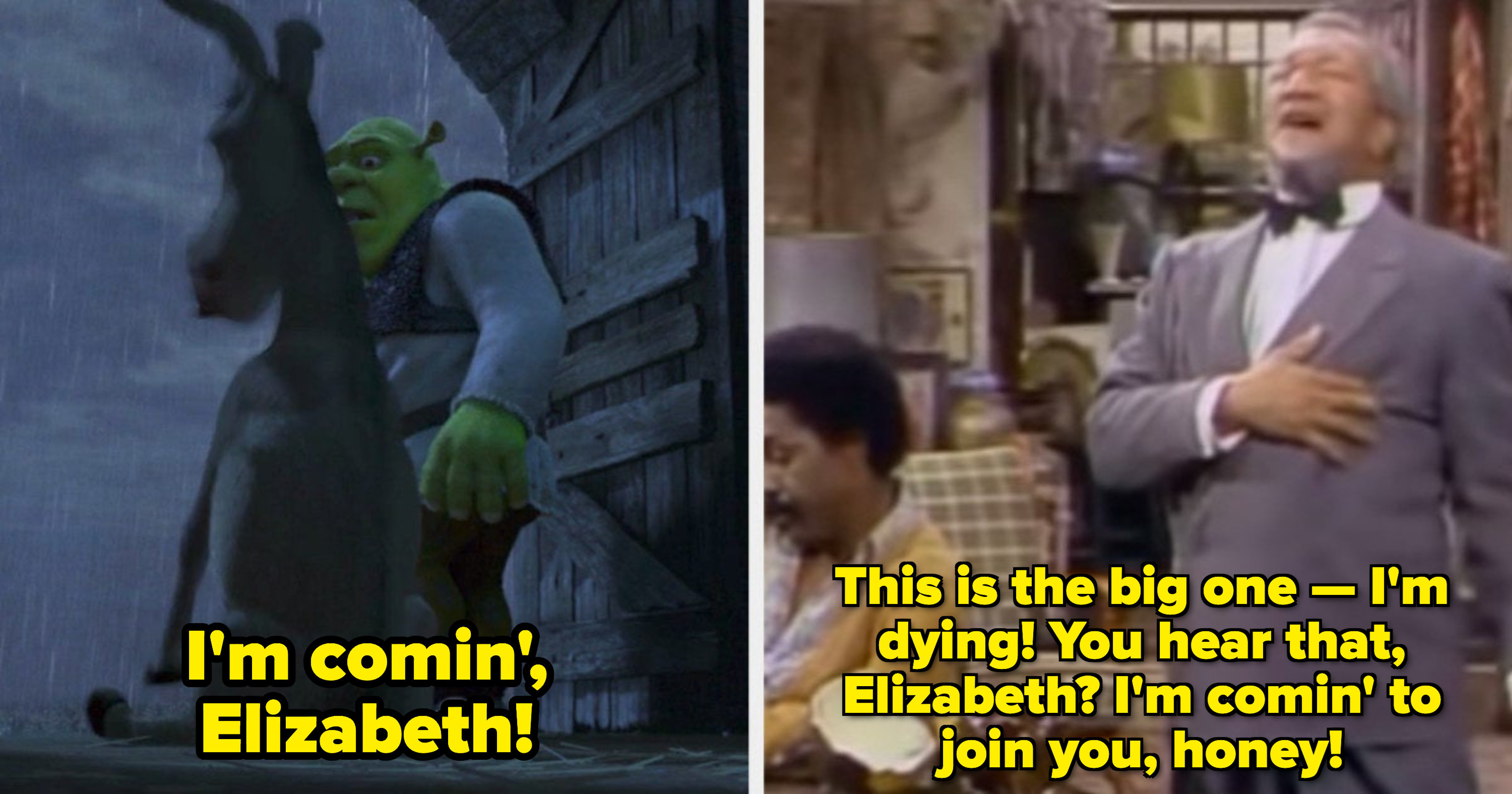 """Donkey fainting near the rain: """"I'm comin', Elizabeth!;"""" Fred Sanford holding his hand to his chest: """"This is the big one -- I'm dying! You hear that, Elizabeth? I'm comin' to join you, honey!"""""""